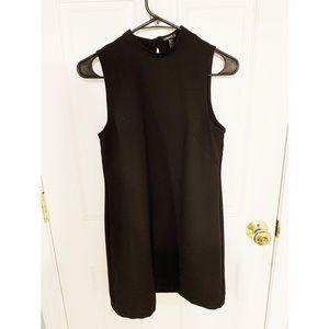 Black high neck mini dress